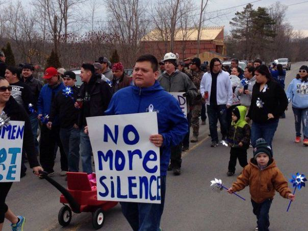 Ononadaga Nation men march against domestic violence and child abuse, April 4, 2014.