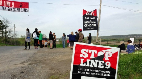 Road to Enbridge Line 9 site blockaded on May 20, 2014.